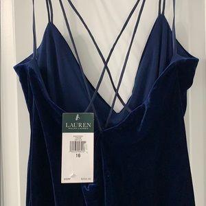 NWT Ralph Lauren Blue Velvet Long Evening Dress